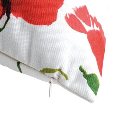 Cuscino Coquelicot fondo bianco fiore rosse 50x50 cm