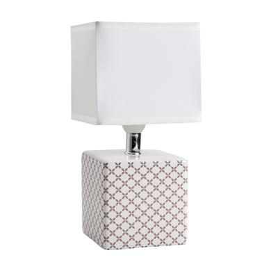 Lampada da comodino Caroline bianco, in cotone su pvc, E14 MAX 40W IP20 LUSSIOL