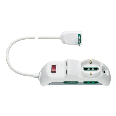 Multipresa con cavo e con protezione FP00518.C.B bianco 5 prese