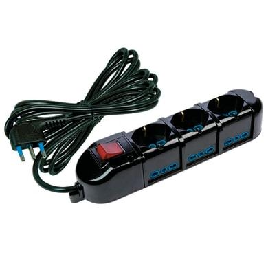 Multipresa con cavo e con protezione 42123-5A-G nero 9 prese