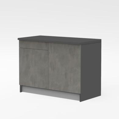 Base One ante e frontali cassetto ossido, top cucina e fianchi antracite L 120H 89 x P 60 cm