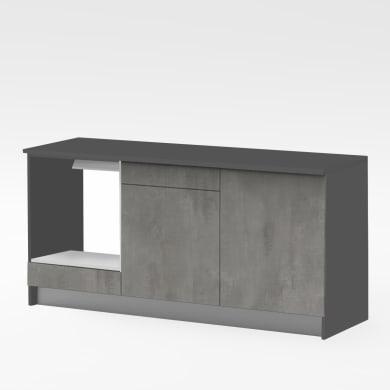 Base One ante e frontali cassetto ossido, top cucina e fianchi antracite L 180H 89 x P 60 cm