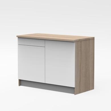Base One ante e frontali cassetto bianchi, top cucina e fianchi rovere gordon L 120H 89 x P 60 cm