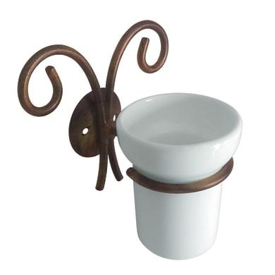 Bicchiere porta spazzolini Country in ceramica bianco