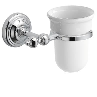 Bicchiere porta spazzolini England in ceramica bianco