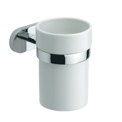 Bicchiere porta spazzolini Louise in ceramica bianco