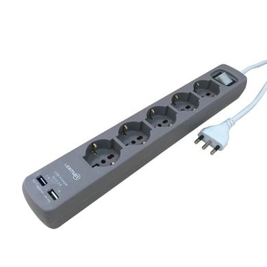 Multipresa con cavo e con protezione LEXMAN grigio 5 prese con interruttore