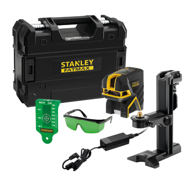 Livella laser STANLEY FATMAX Livella laser croce + 5 punti rag.verde nero