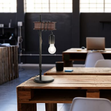 Lampada da tavolo Vintage Medbourne marrone , in acciaio inox, EGLO