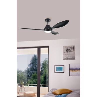 Ventilatore da soffitto LED integrato Antibes, nero , D. 132 cm, con telecomando