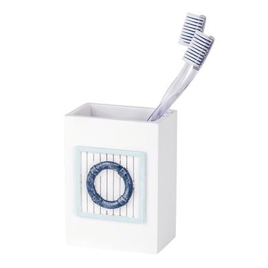 Bicchiere porta spazzolini Nautic in poliresina bianco