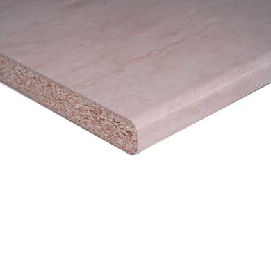 Piano di lavoro in laminato travertino L 246 x P 60 cm, spessore 2.8 cm