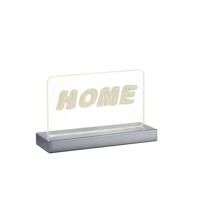 Lampada da tavolo Moderno Lampada FUN scritta HOME cromato lucido, in acrilico