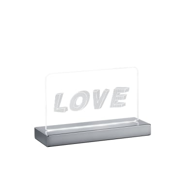 Lampada da tavolo Moderno Lampada FUN scritta LOVE cromato lucido, in acrilico