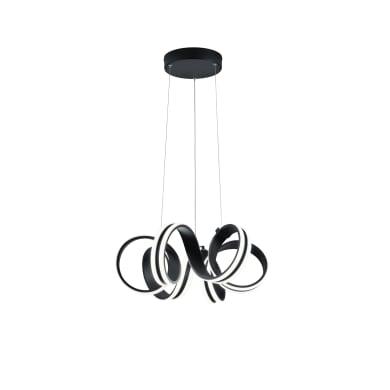 Lampadario Moderno CARRARA SOSPSNSIONE NERA LED integrato nero, in metallo, D. 55 cm, L. 150 cm