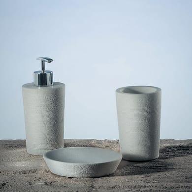 Bicchiere porta spazzolini Nubia in pietra avorio