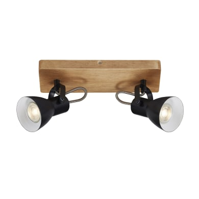 Barra di faretti Arbo nero bianco - base legno, in metallo, GU10 2xIP20