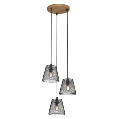 Lampadario Design Wood&Style nero in metallo, D. 21 cm, 3 luci