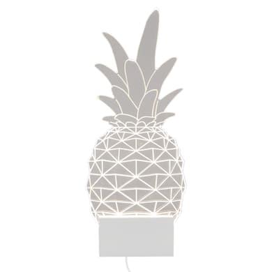 Applique moderno sagomata Pineapple LED integrato bianco, in acrilico, 32x13.3 cm, INSPIRE