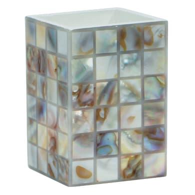 Bicchiere porta spazzolini Perl in resina beige