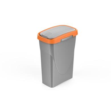 Pattumiera Ecoswing grigio con cornice arancio 25 L
