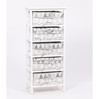 Cassettiera Agua 5 cassetti L 40 x P 90 x H 29 cm bianco