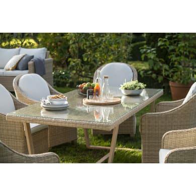 Tavolo da giardino rettangolare NATERIAL con piano in vetro L 100 x P 200 cm