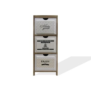 Cassettiera 3 cassetti L 30 x P 24 x H 79 cm marrone