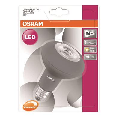 Lampadina LED, E27, Faretto, Opaco, Luce calda, 5.5W=370LM (equiv 67 W), 36° , OSRAM
