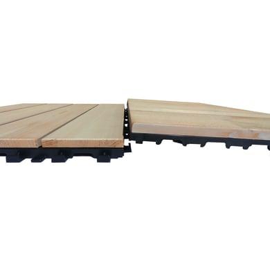 Piastrelle ad incastro PIASTRELLA THERMOWOOD 40X120 BIANCO in legno pino scandinavo 39 x 118 cm Sp 2.5 mm,  marrone chiaro