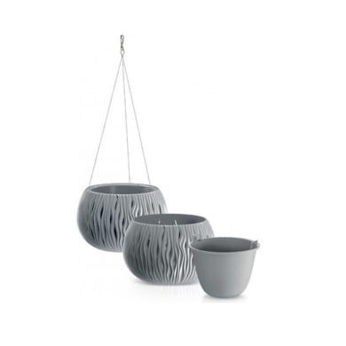 Vaso Sandy PROSPERPLAST in plastica colore grigio H 55 cm, Ø 10 cm