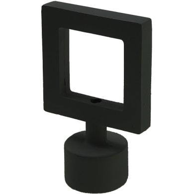 Finale per bastone Stelvio quadrato in metallo Ø16mm nero satinato INSPIRE