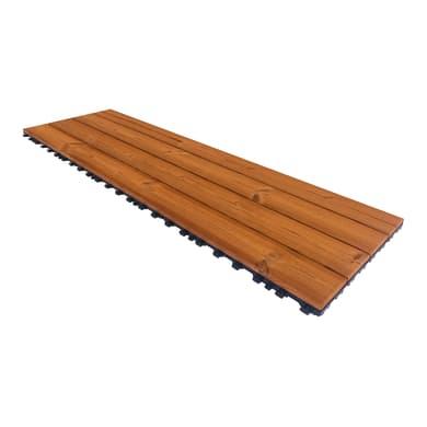 Piastrelle ad incastro PIASTRELLA THERMOWOOD  40X120 in legno pino scandinavo 39 x 118 cm Sp 2.5 mm,  marrone chiaro