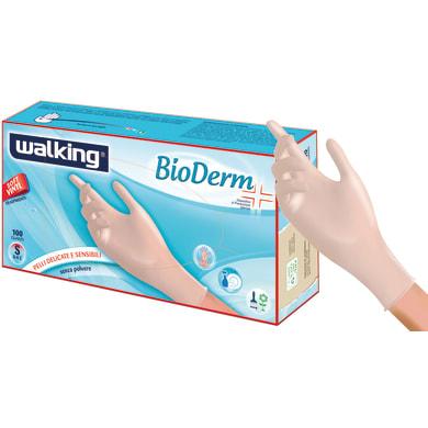 Guanti in vinile WALKING Bioderm 7 / S trasparente, 100 pezzi
