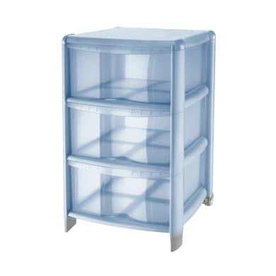 Cassettiera Bambù 3 cassetti L 39.5 x P 38.5 x H 67 cm blu