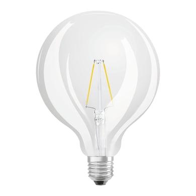 Lampadina LED filamento, E27, Globo, Trasparente, Luce calda, 2W=250LM (equiv 25 W), 360° , OSRAM