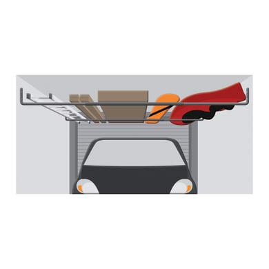 Gancio per garage estensibile L 150 x H 28 cm acciaio brunito