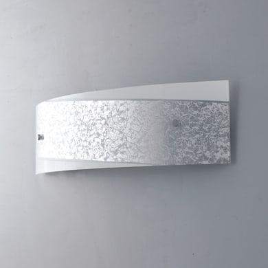 Applique glamour Paris bianco e argento, in vetro, 12x45 cm, 2 luci