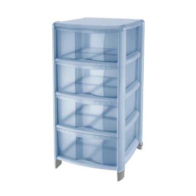 Cassettiera Bambù 4 cassetti L 39.5 x P 38.5 x H 86 cm blu