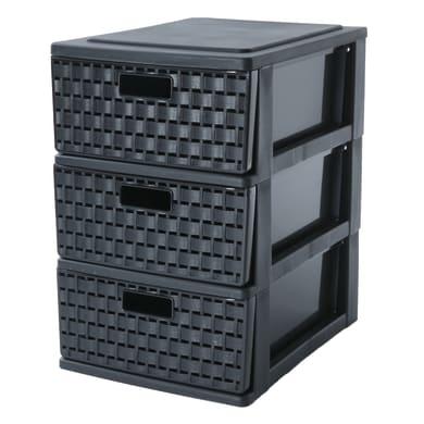 Cassettiera L 18 x P 25 x H 28 cm nero