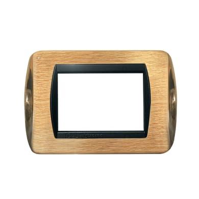 Placca CAL 3 moduli ottone satinato + ottone lucido compatibile con living international