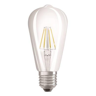 Lampadina LED filamento, E27, Goccia, Trasparente, Luce calda, 4W=470LM (equiv 40 W), 360° , OSRAM