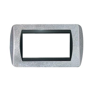 Placca CAL 4 moduli argento glitter compatibile con living international