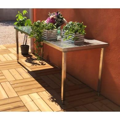 Piastrelle ad incastro PIASTRELLA THERMOWOOD 55X55 in legno pino scandinavo 55 x 55 cm Sp 2.5 mm,  marrone chiaro