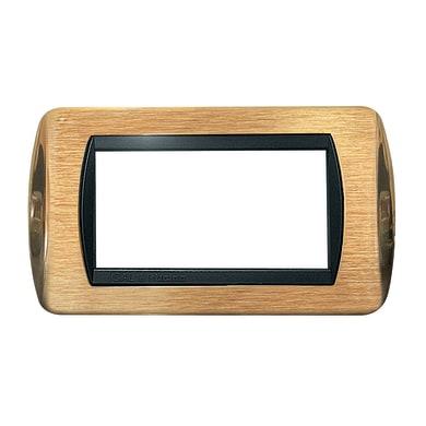 Placca CAL 4 moduli ottone satinato + lucido compatibile con living international