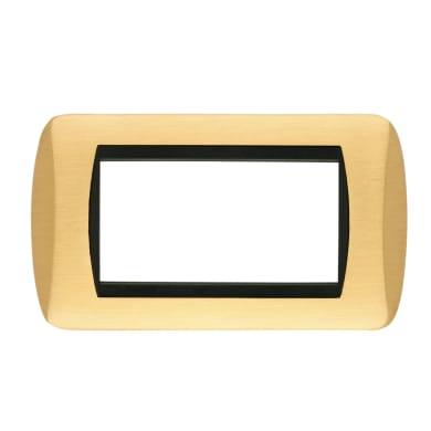 Placca CAL Living International 4 moduli oro satinato ottone compatibile con living international