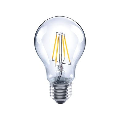 Lampadina LED filamento, E27, Goccia, Trasparente, Luce calda, 4W=470LM (equiv 40 W), 360° , LEXMAN