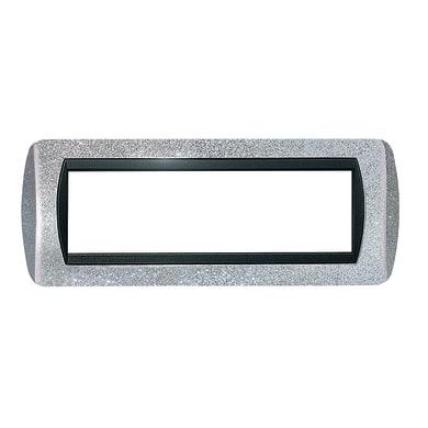 Placca CAL 7 moduli argento glitter compatibile con living international