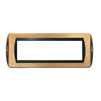 Placca CAL 7 moduli ottone satinato + ottone lucido compatibile con living international