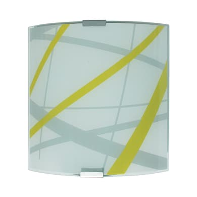 Applique pop Trust bianco, grigio, verde e alluminio, in vetro, 20x20 cm, LUMICOM
